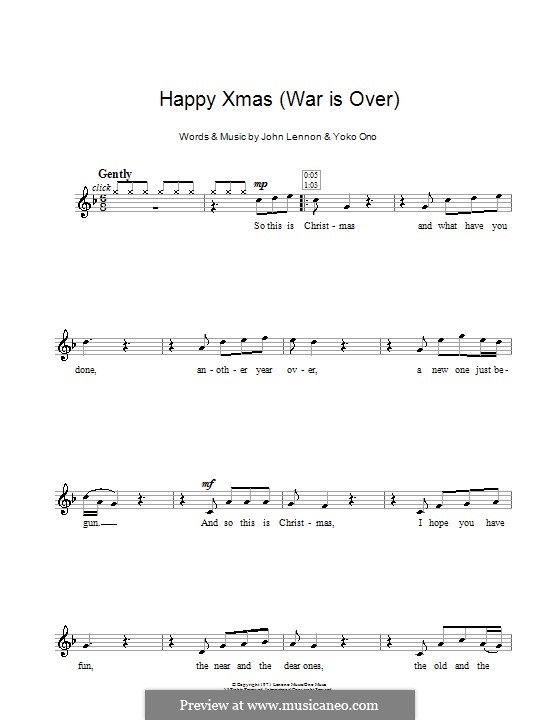Happy Xmas (War Is Over): For recorder by John Lennon, Yoko Ono