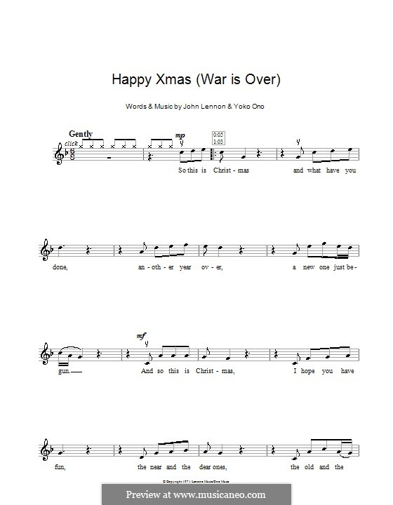 Happy Xmas (War Is Over): For violin by John Lennon, Yoko Ono