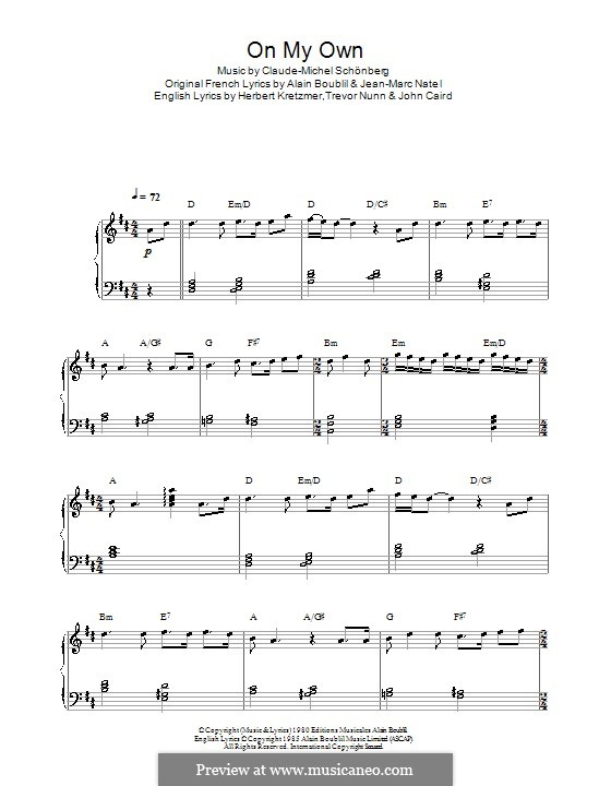 On My Own: For piano by Claude-Michel Schönberg