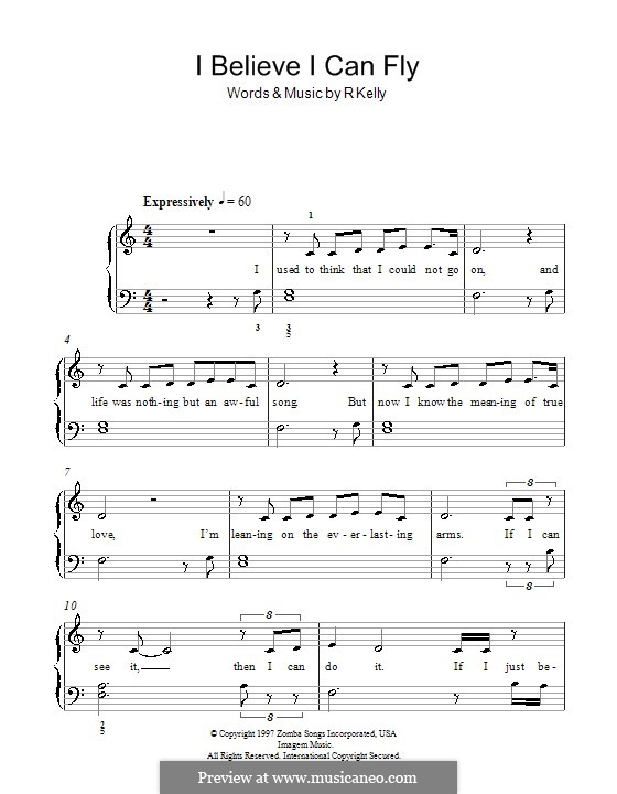 I Believe I Can Fly: For easy piano by Robert Kelly