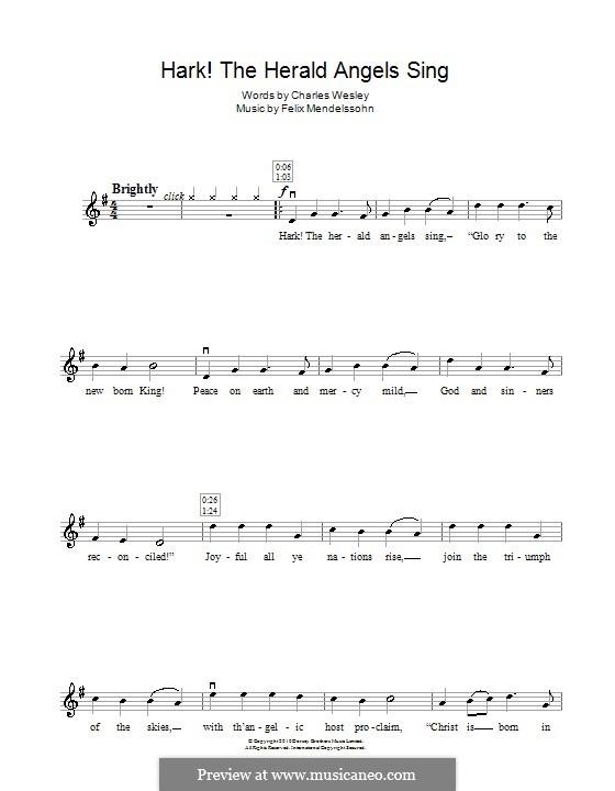 Hark! The Herald Angels Sing, for Solo Instrument: For violin by Felix Mendelssohn-Bartholdy