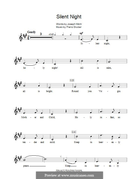 Solo instrument version (various): For clarinet by Franz Xaver Gruber