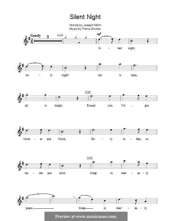 Solo instrument version (various): For flute by Franz Xaver Gruber