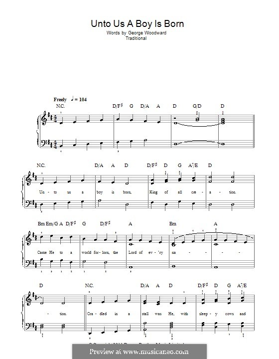 Unto Us a Boy Is Born: For easy piano by folklore