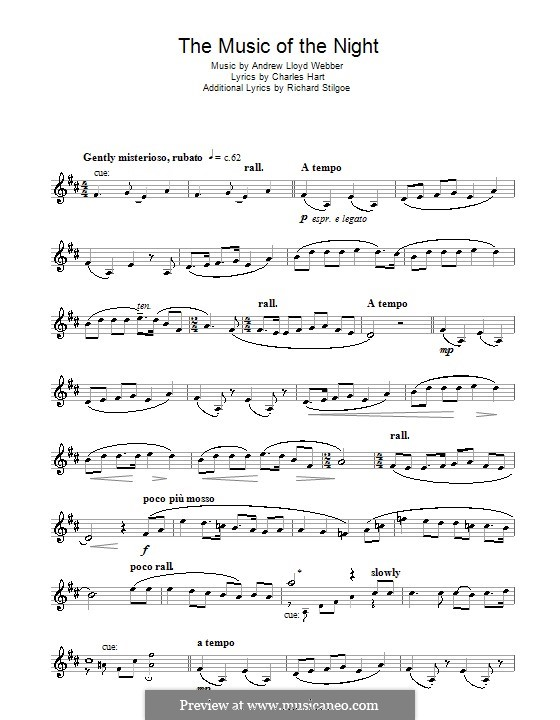 The Music of the Night, instrumental version: For clarinet by Andrew Lloyd Webber