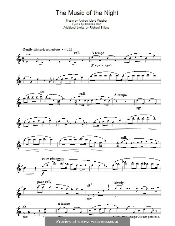 The Music of the Night, instrumental version: For flute by Andrew Lloyd Webber