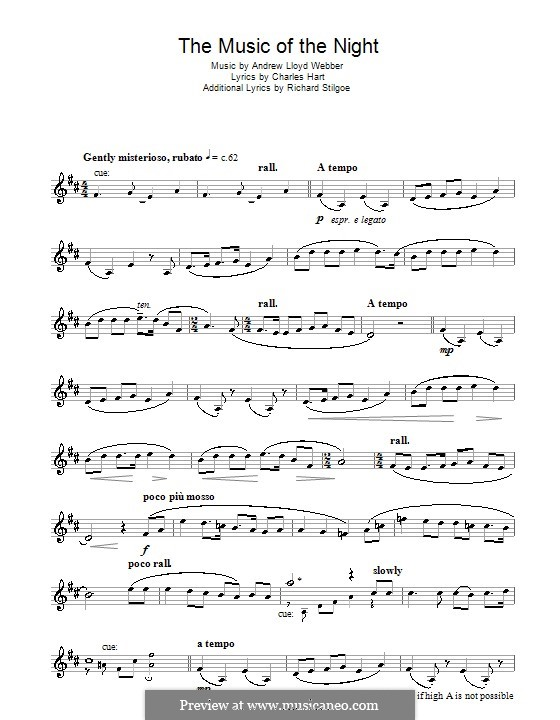 The Music of the Night, instrumental version: For trumpet by Andrew Lloyd Webber