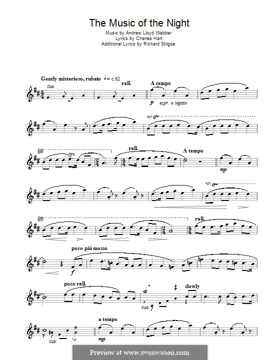 The Music of the Night, instrumental version: For tenor saxophone by Andrew Lloyd Webber
