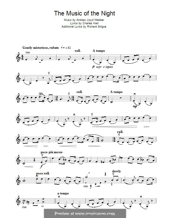 The Music of the Night, instrumental version: For violin by Andrew Lloyd Webber