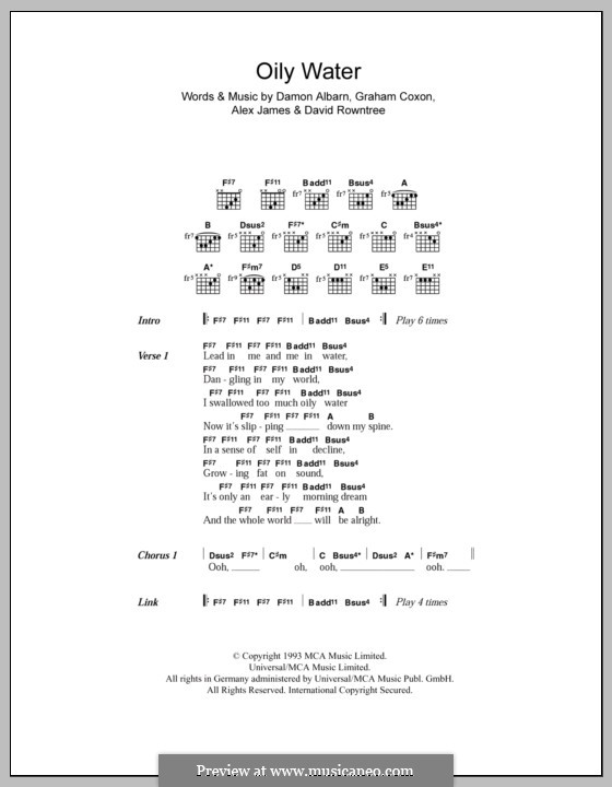 Oily Water (Blur): Lyrics and chords by Alex James, Damon Albarn, David Rowntree, Graham Coxon