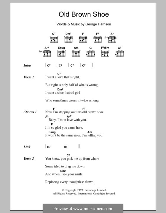 Old Brown Shoe (The Beatles): Lyrics and chords by George Harrison
