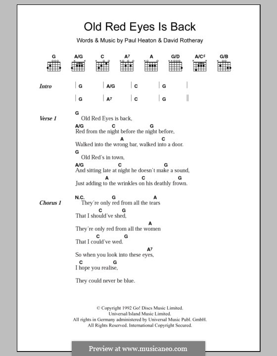 Old Red Eyes Is Back (The Beautiful South): Lyrics and chords by David Rotheray, Paul Heaton