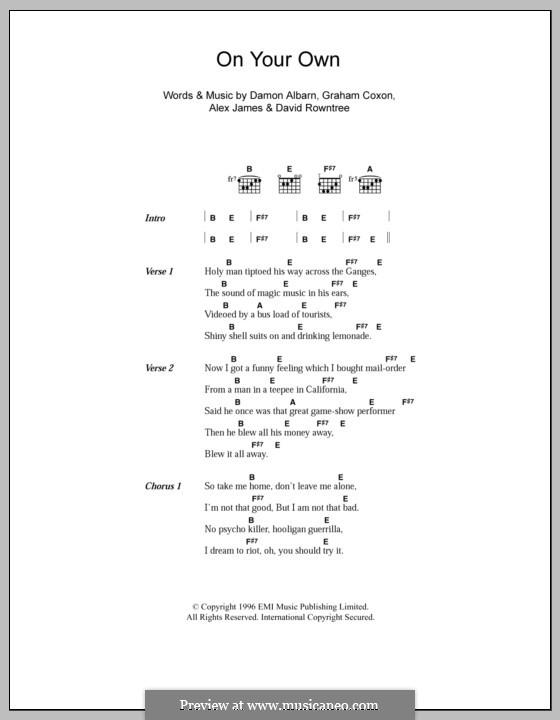On Your Own (Blur): Lyrics and chords by Alex James, Damon Albarn, David Rowntree, Graham Coxon