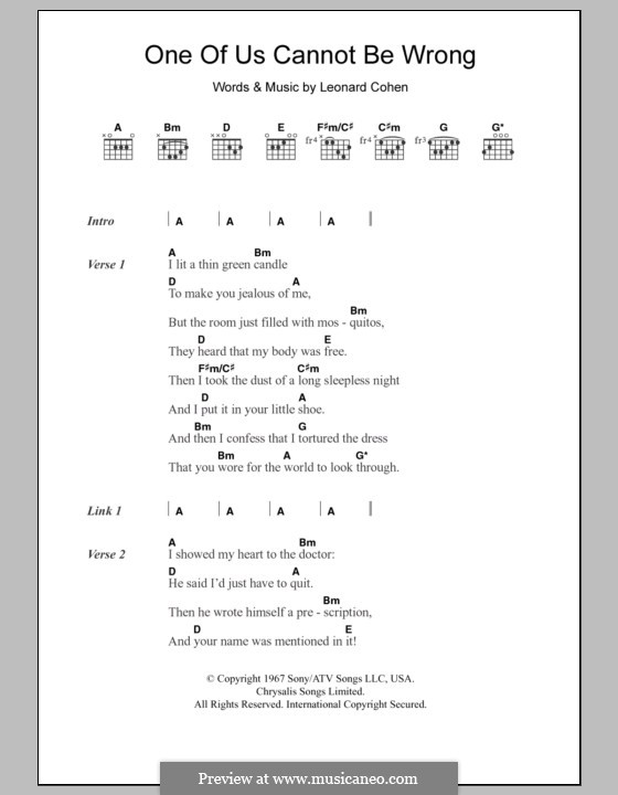 One of Us Cannot Be Wrong: Lyrics and chords by Leonard Cohen