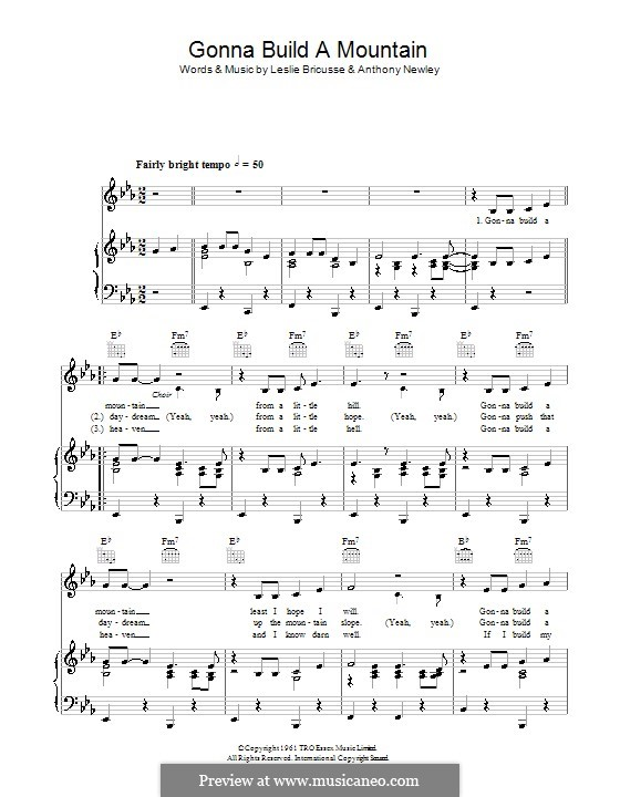 Gonna Build a Mountain: For voice and piano or guitar (Sammy Davis Jr.) by Anthony Newley