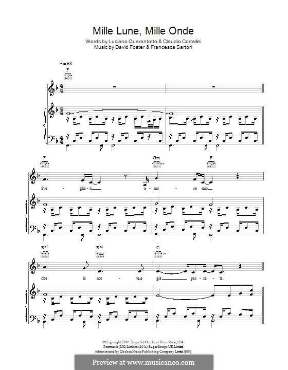 Mille lune, mille onde: For voice and piano (or guitar) by David Foster, Francesco Sartori