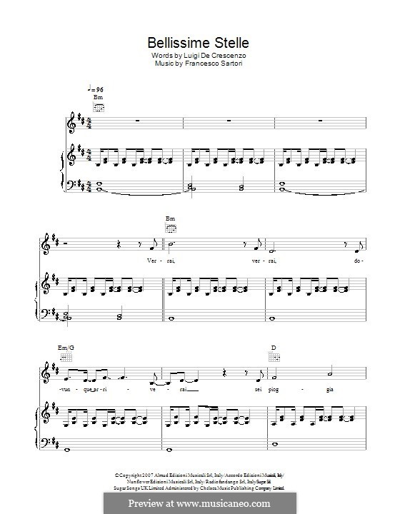 Bellissime Stelle (Andrea Bocelli): For voice and piano (or guitar) by Francesco Sartori