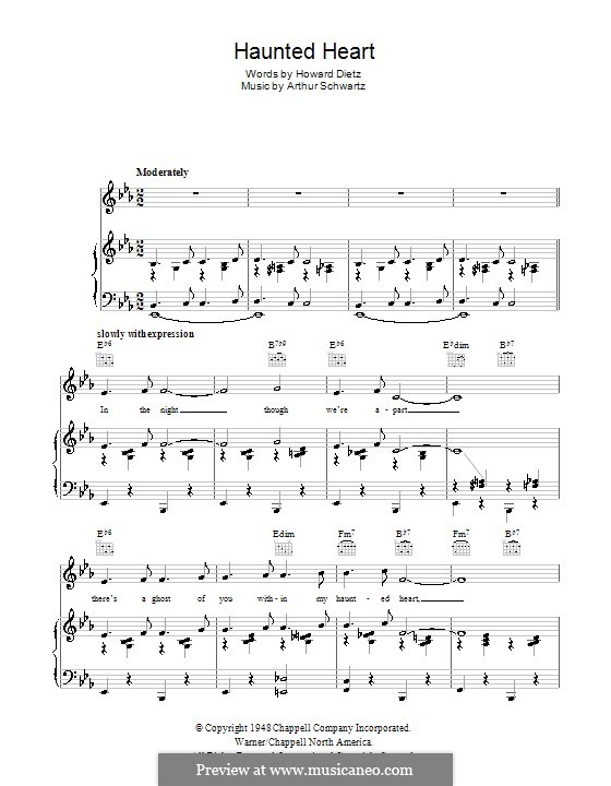Haunted Heart (Frank Sinatra): For voice and piano (or guitar) by Arthur Schwartz