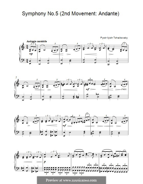 Movement II: Arrangement for piano (Fragment) by Pyotr Tchaikovsky