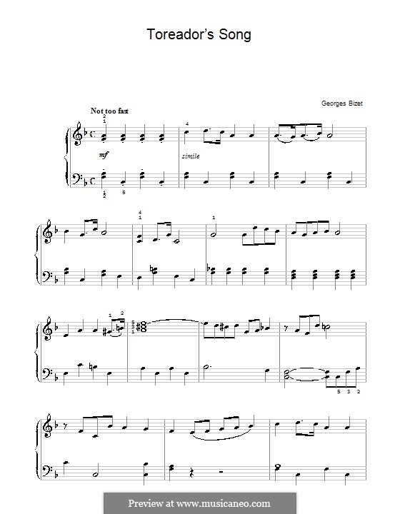 Toreador's Song: For easy piano by Georges Bizet
