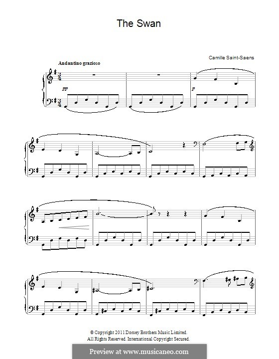 The Swan: For easy piano by Camille Saint-Saëns