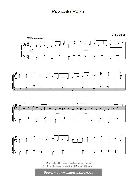 Sylvia: Pizzicati. Version for easy piano by Léo Delibes