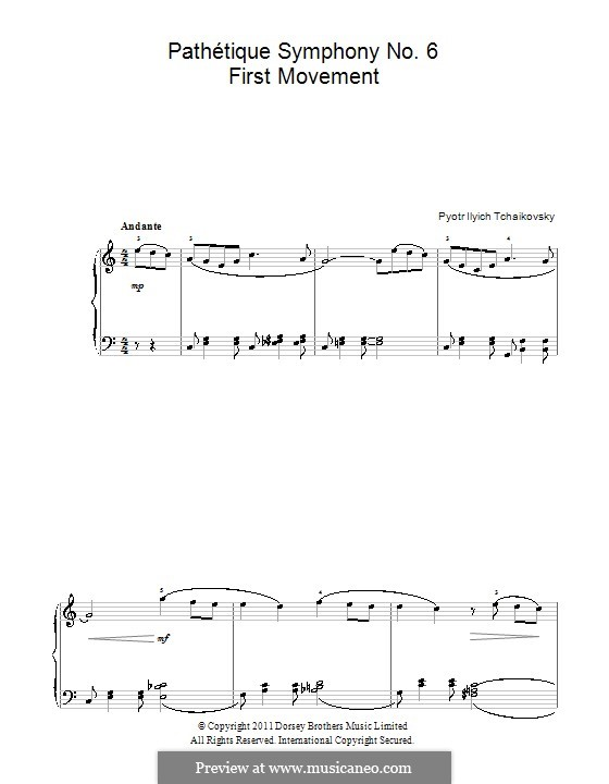 Movement I: Arrangement for piano (Fragment) by Pyotr Tchaikovsky