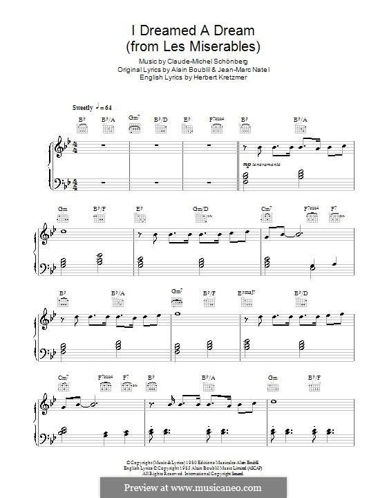 I Dreamed a Dream, for Piano: B flat Major by Claude-Michel Schönberg