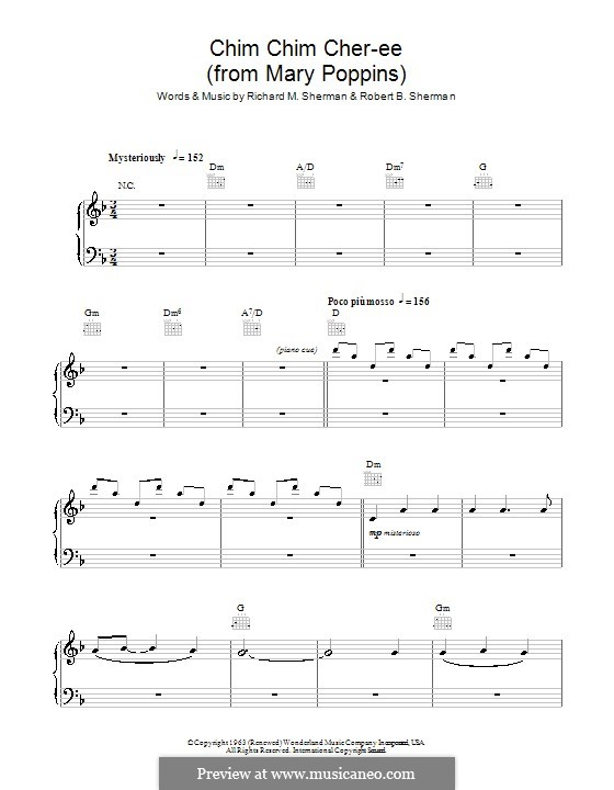 Chim Chim Cher-ee (from Mary Poppins): For easy piano by Richard M. Sherman, Robert B. Sherman