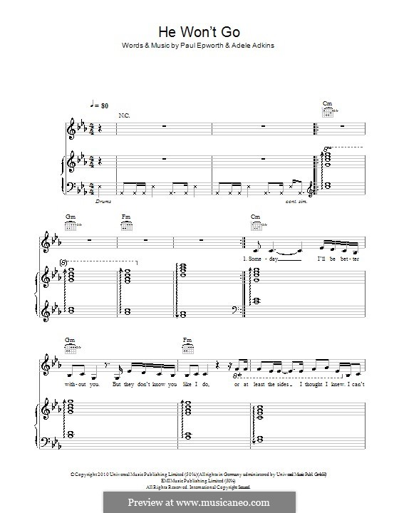 He Won\'t Go by Adele, P. Epworth - sheet music on MusicaNeo