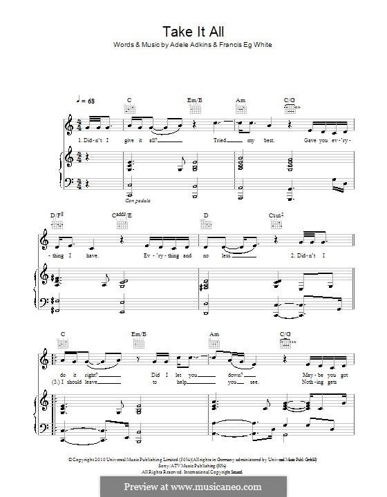 Take It All: For voice and piano (or guitar) by Adele, Eg White