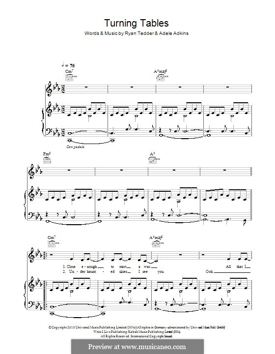 Turning Tables By Adele Rb Tedder Sheet Music On Musicaneo