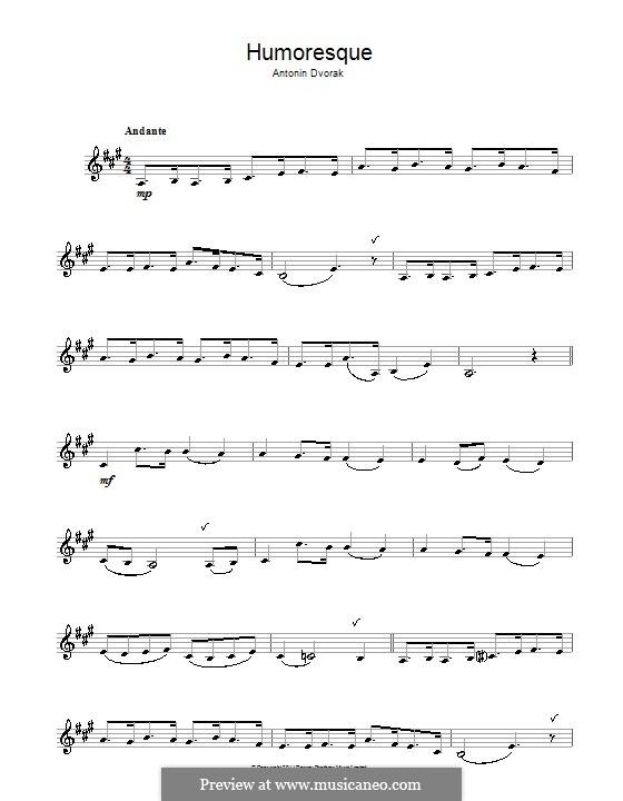 Humoresques, B.187 Op.101: No.7, for clarinet by Antonín Dvořák