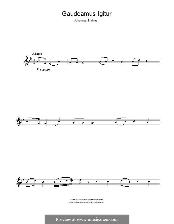 Gaudeamus Igitur: For clarinet by Johannes Brahms