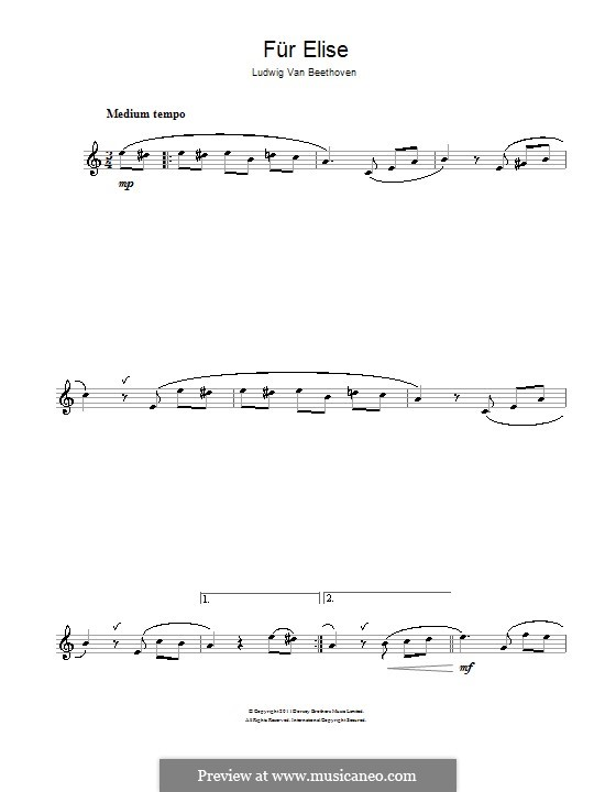 For Elise, WoO 59: For flute by Ludwig van Beethoven