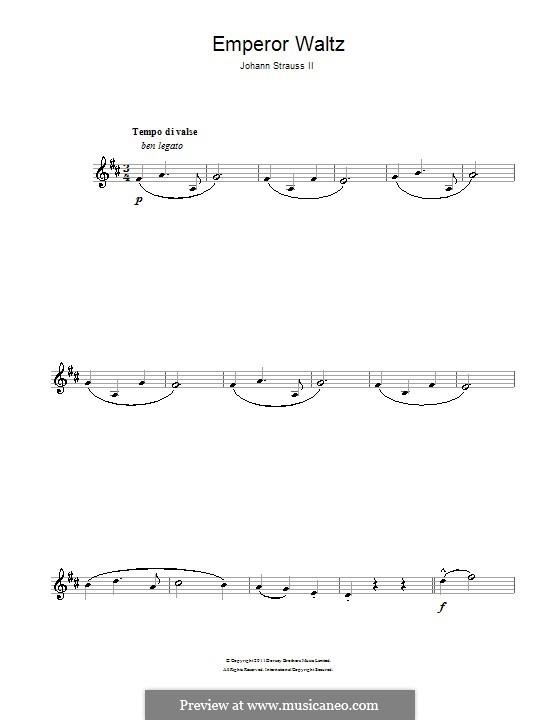 Emperor Waltz, Op.437: For clarinet by Johann Strauss (Sohn)