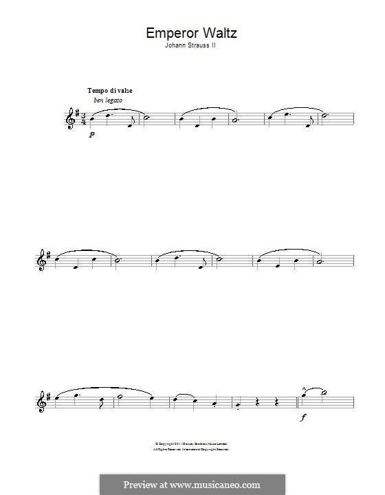 Emperor Waltz, Op.437: For alto saxophone by Johann Strauss (Sohn)