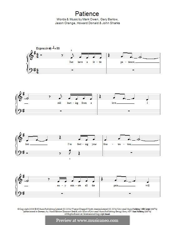 Patience (Take That): For easy piano by Gary Barlow, Howard Donald, Jason Orange, John M Shanks, Mark Owen