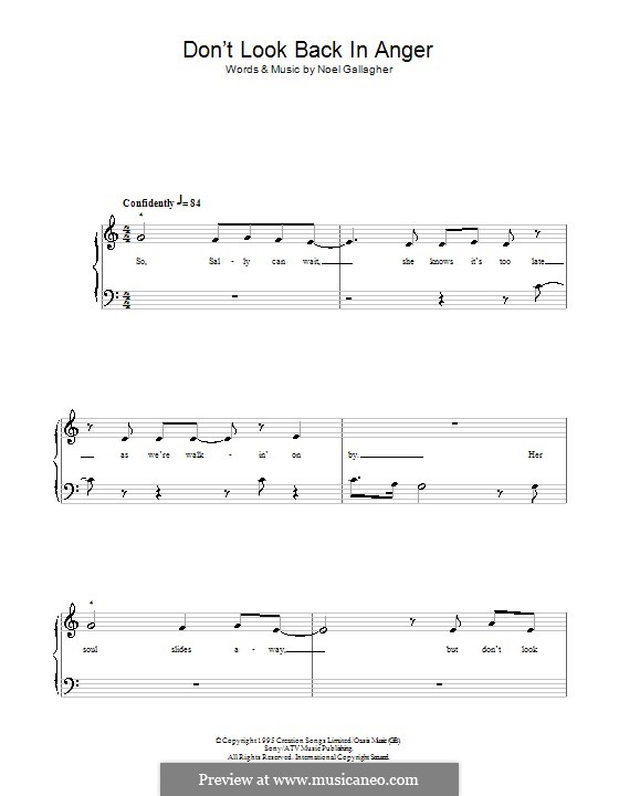 Don't Look Back in Anger (Oasis): For easy piano by Noel Gallagher