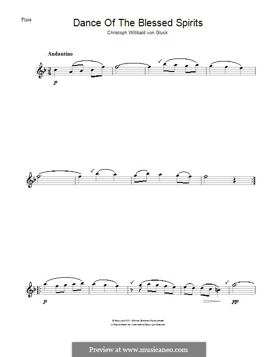 Dance of the Blessed Spirits: For flute by Christoph Willibald Gluck