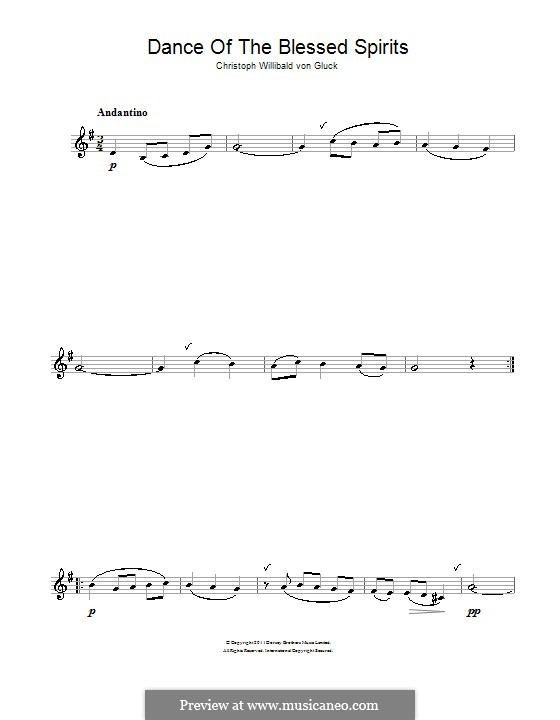 Dance of the Blessed Spirits: For clarinet by Christoph Willibald Gluck