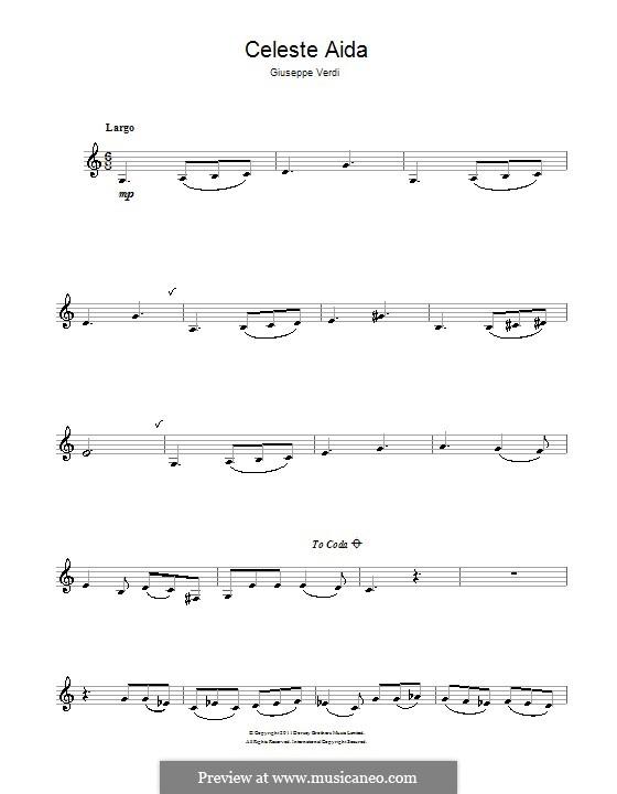 Celeste Aida: For clarinet by Giuseppe Verdi
