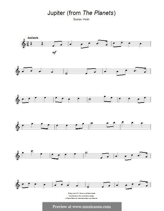 Jupiter: For saxophone by Gustav Holst