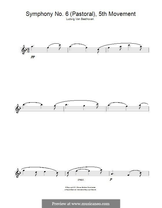 Movement V. The Shepherd's Song: Theme. Version for flute by Ludwig van Beethoven
