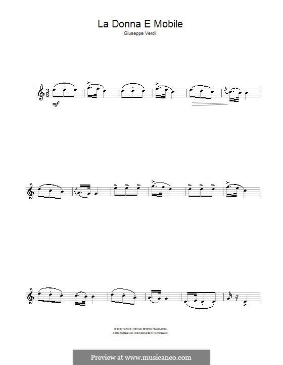 La donna è mobile (Over the Summer Sea): For clarinet by Giuseppe Verdi