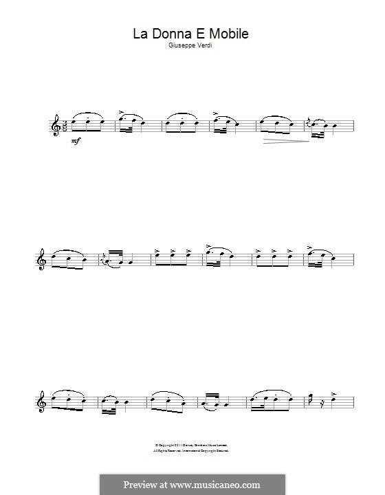 La donna è mobile (Over the Summer Sea): For alto saxophone by Giuseppe Verdi