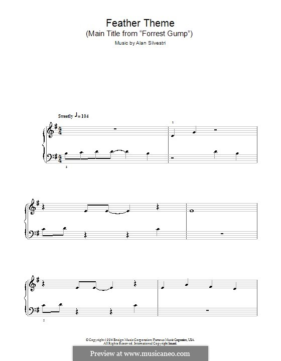 Forrest Gump Suite (Theme): For easy piano by Alan Silvestri