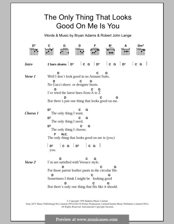The Only Thing That Looks Good on Me Is You: Lyrics and chords by Robert John Lange