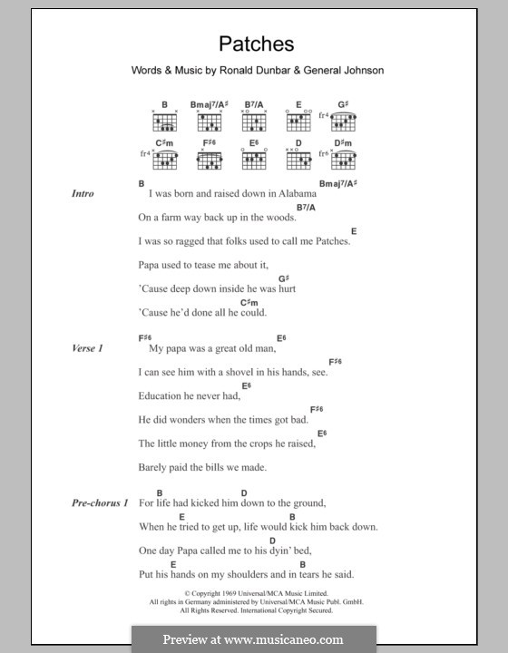 Patches (Clarence Carter): Lyrics and chords by General Johnson, Ronald Dunbar