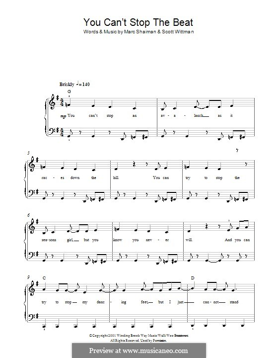 You Can't Stop the Beat (from Hairspray): For easy piano by Marc Shaiman
